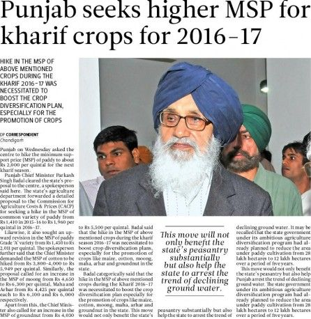 Badal seeks higher MSP for kharif crops for 2016-17. #Shiromaniakalidal #Parkashsinghbadal #Punjab #Higher  #MSP #Kharif