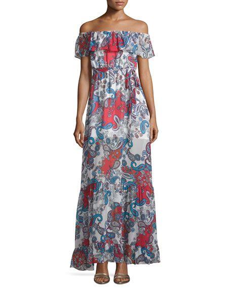 NICHOLAS OFF-THE-SHOULDER PAISLEY-PRINT MAXI DRESS, RED PATTERN. #nicholas #cloth #