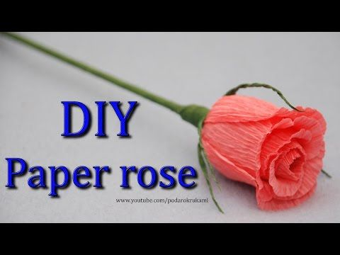 Роза. Букеты из конфет. DIY crepe paper rose. - https://www.youtube.com/watch?v=VFeH8IeIJ-k