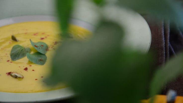 Pumpkin soup making footage