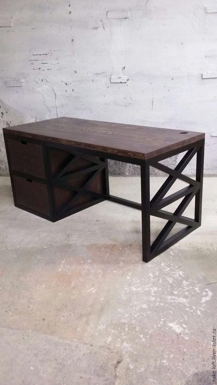 Купить Стол письменный - стол, письменный стол, дерево, металл, лофт, дерево, металл, сосна