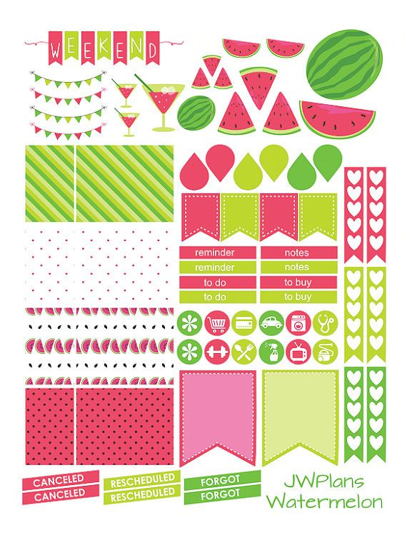 PRINTABLE Erin Condren Planner Watermelon by PricklyPearDesignCo