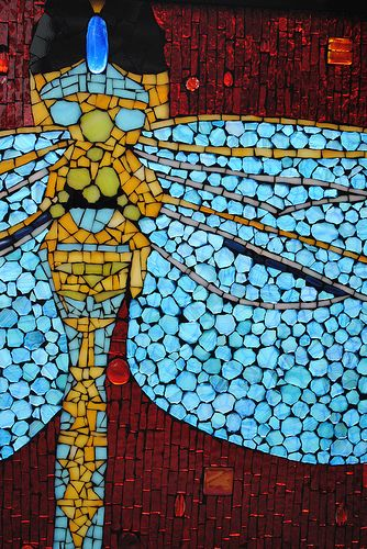 Mosaic Stained Glass Dragonfly