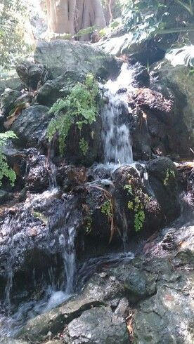 Cascada de agua con piedras fuentes de agua pinterest for Cascadas de piedra para jardin