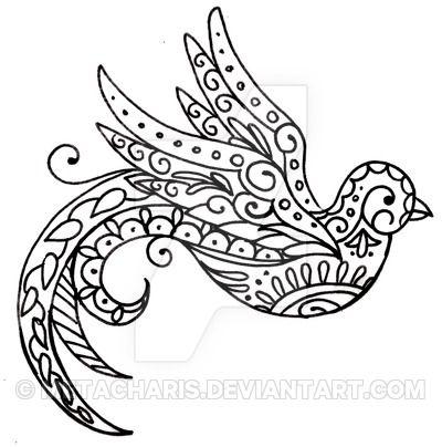 Paisley+Bird+Tattoo+by+Metacharis.deviantart.com+on+@DeviantArt