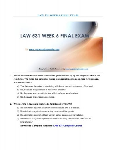 Correct answers are just a click away. Get instant help and 100% correct answers to Business LAW 531 Week 6 Final Exam New Assignments 24x7 from learned professionals in statistics and other relevant fields.