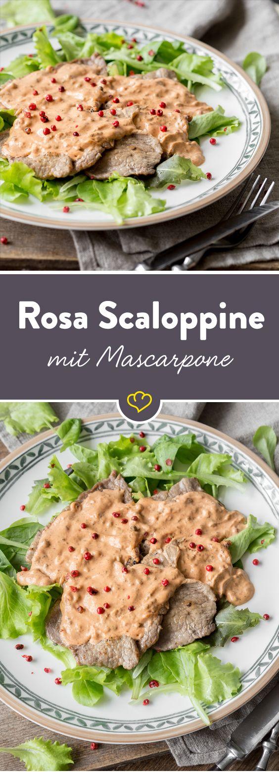 Diese dünnen Kalbsschnitzel präsentieren sich dank einer köstlichen Mascarpone-Tomaten-Creme in einem dezenten Rosa und schmecken so zart wie sie aussehen!