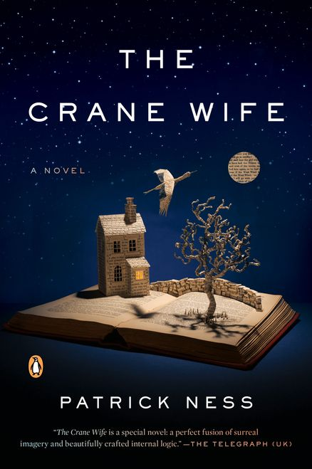 THE CRANE WIFE by Patrick Ness -- A magical novel, based on a Japanese folk tale, that imagines how the life of a broken-hearted man is transformed when he rescues an injured white crane that has landed in his backyard.