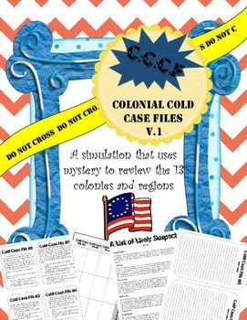 This is THE best way to get kids engaged in learning about the 13 Colonies.  This activity has it all!  Student journals, Cold Case task cards, a list of likely suspects, graphic organizers, literally everything you need to make the 13 colonies come to life.