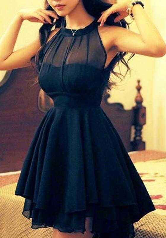 Black Plain Grenadine Irregular Backless Chiffon Dress - Mini Dresses - Dresses