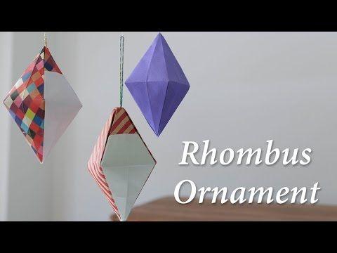 折り紙オーナメント、ひし形立体の作り方。/サンタクロース/Rhombus Ornament【origami tutorial】 - YouTube