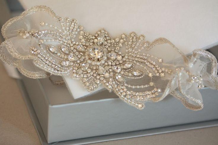 Millie Icaro Bridal Garter Set heirloom keepsake garter - FEUILLES Garter Set