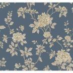 Williamsburg II Chinese Peony Wallpaper, Indigo Blue/Grey/White/Metallic Gold