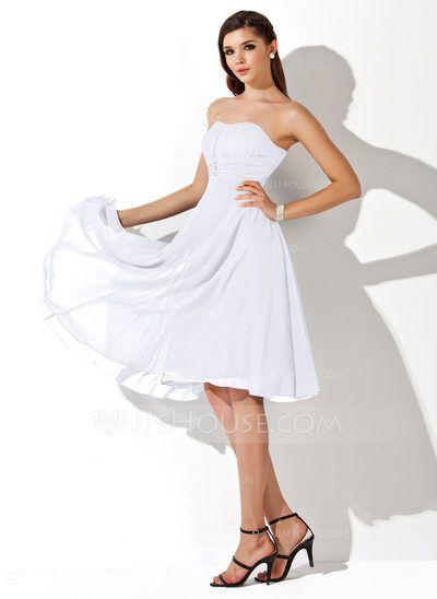 Empire Sweetheart Knee-Length Chiffon Bridesmaid Dress With Ruffle Beading (007020708)