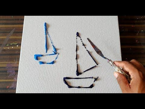 Simple and easy abstract painting for beginners / Sailboats / Demonstration / Daily art therapy / Day No. 66 – YouTube