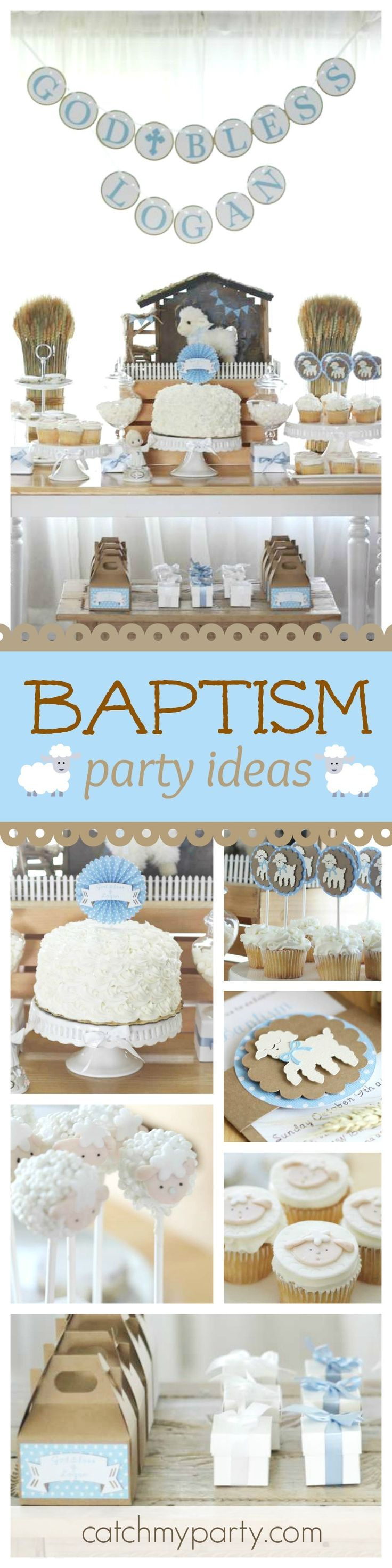 You don't want to miss this gorgeous little lamb baptism party! The lamb cupcakes and cake pops are adorable!! See more party ideas and share yours at http://CatchMyParty.com