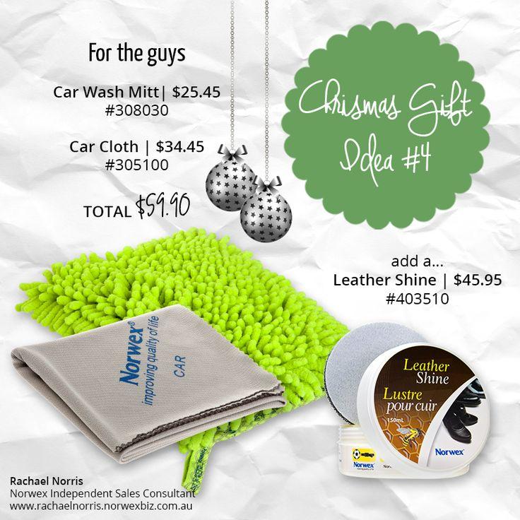 Christmas gift ideas - Norwex car wash mitt, car cloth and leather shine
