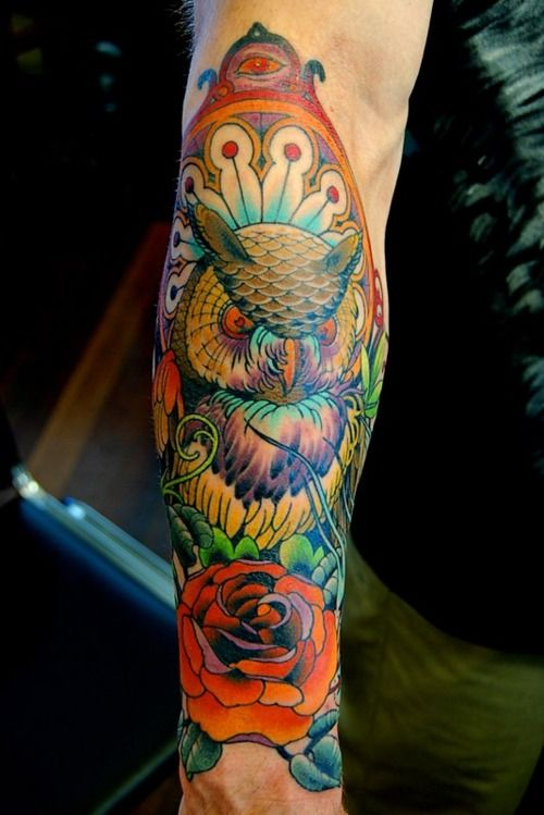 : Tattoo Ideas, Adam Barton, Colors, Beautiful Color, Body Art, Tattoo'S, Owl Tattoos, Ink, Bodyart