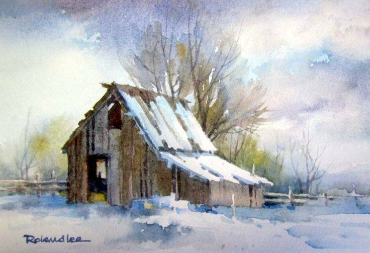 519 best watercolor landscapes images on pinterest for Watercolor barn paintings