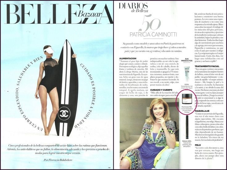Patricia Caminotti (50), ex modelo y representante de Figurella en Argentina nos cuenta sus tips de belleza. Para cuello y escote elije: FIRMING NECK THERAPY de Perricone MD. No te pierdas la nota de la revista HARPER'S BAZAAR ARGENTINA