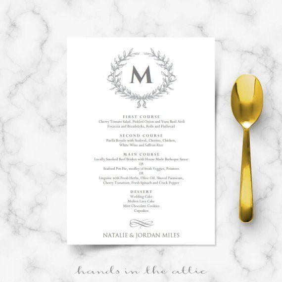 Formal Wedding Menu Simple Chic Elegant Grey Modern Weddings