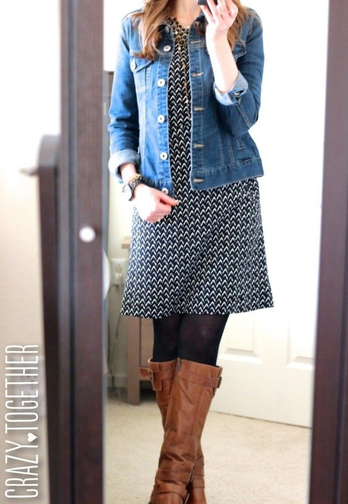 black and white Bellatrix 3/4 sleeve Chevron print shift dress  Have the jean jacket, tights and boots.
