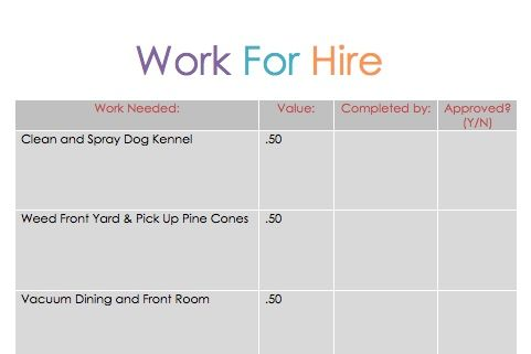 """Free """"Work for Hire"""" Printable (Chore Chart) / Allowance / Reward System for Older Kids"""