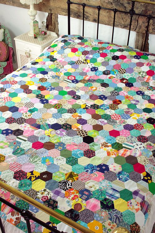 A patchwork quilt...look at all those little hexies!