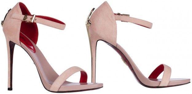 Sandali in camoscio rosa con tacco a pugnale