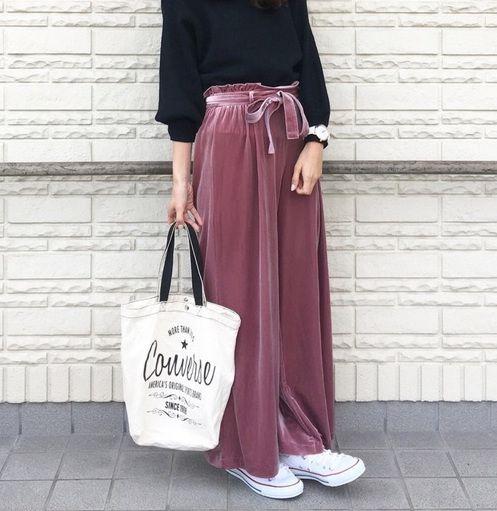 冬っぽ可愛いトレンドアイテムベロアワイドパンツを着こなせ