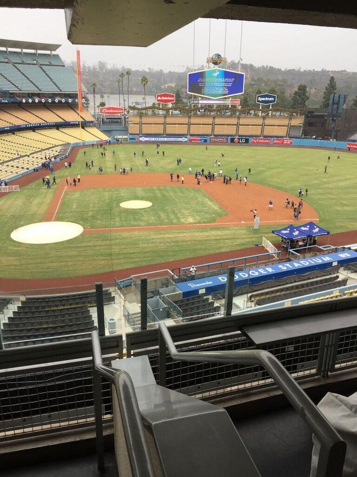 "View from the Dodger Stadium pressbox on special ""season ticket holder appreciation day"" November 2016"