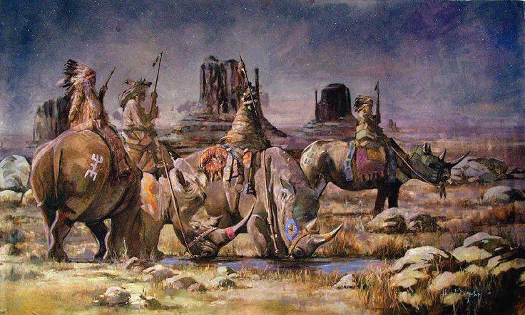Rhino Riders on Starlight Plain by Henri Lepetit (Oil on Canvas, 32 x 57)