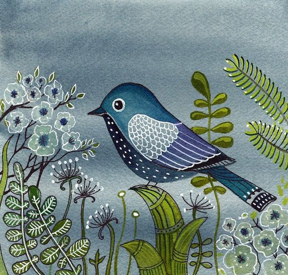 Blue Bird At Night print from Original Watercolor by sublimecolors