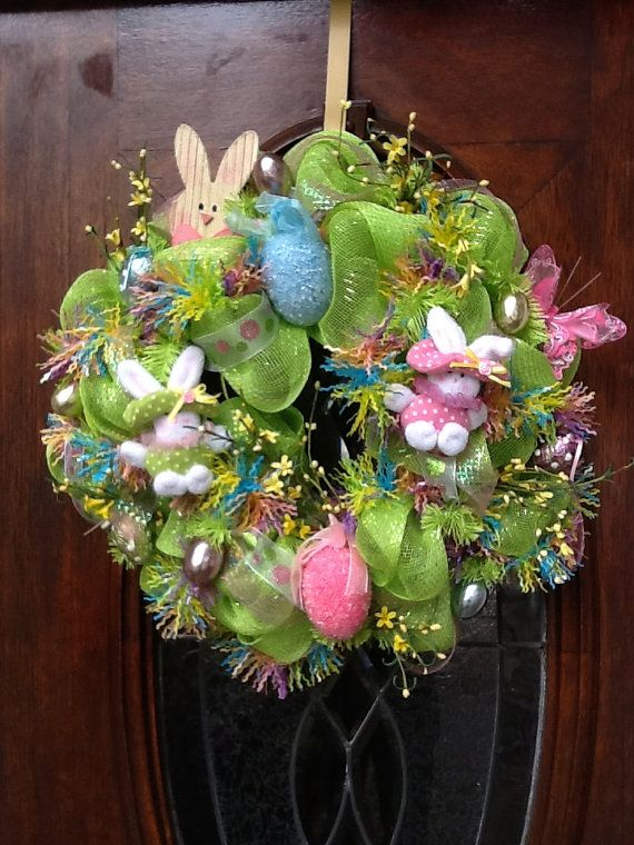 easter wreath: Craft, Easter Decoration, Bunny Deco, Wreath Ideas, Easter Wreaths, Mesh Easter, Deco Mesh Wreaths, Easter Bunny, Easter Ideas