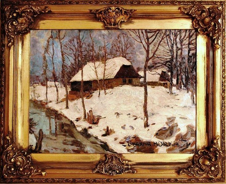 Hůrka Otakar ( 1889 - 1966 ) - V zimě - olej,karton - 87x70