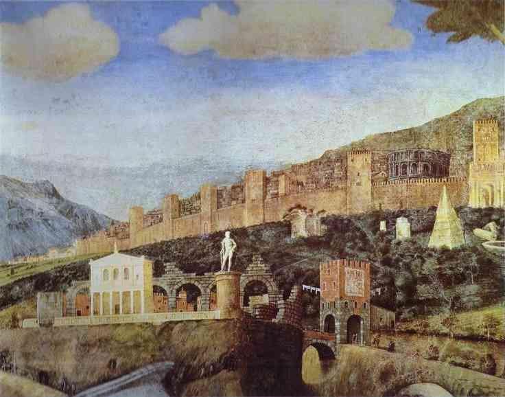 Sullo sfondo è rappresentata una veduta ideale di Roma, in cui si riconoscono il Colosseo, la piramide di Cestio, il teatro di Marcello, il ponte Nomentano, le Mura aureliane, ecc
