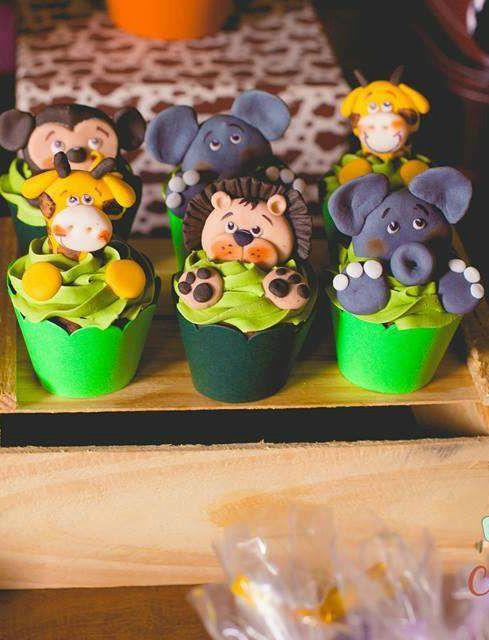 Safari Birthday Party cupcakes!  See more party planning ideas at CatchMyParty.com!