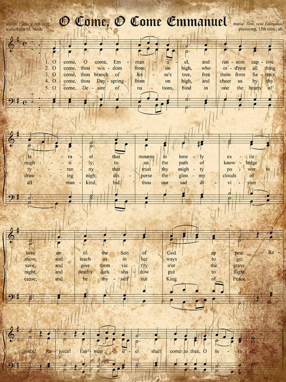 Grungy Aged Vintage Christmas Carols- Digital Scrapbook Paper - 2 Printable Sheets  O Come, O Come Emmanuel and O Little Town of Bethlehem. $2.50, via Etsy.