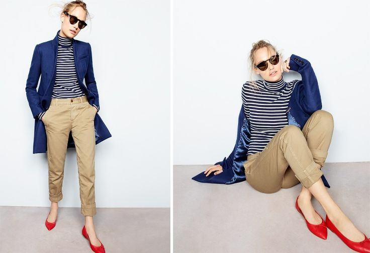 J.Crew Looks We Love 2015 - fall-to-winter transition #stripedshirt #redshoes #shoes