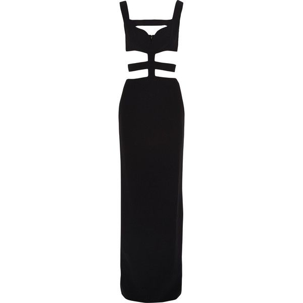 Alexander McQueen Cutout crepe gown ($1,045) ❤ liked on Polyvore featuring dresses, gowns, alexander mcqueen, long dresses, black, cut out dress, long black evening dress, petite black dress, petite gowns e petite evening dresses