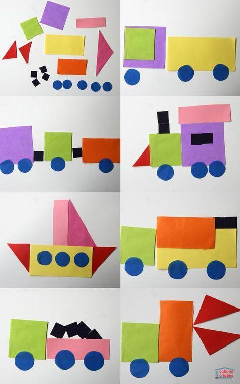 Sortez vos papiers colorés pour découper des formes, des rectangles, des carrés, des ronds, des triangles, des demi cercles... et laissez les enfants les disposer à leur guise pour former des camions, des véhicules de chantier, des trains, des fusées.... Ma fille va bientôt avoir 3 ans et elle adore ce genre d'activité ! Elle utilise le jeu Geoforme de Djeco tous les jours ainsi que le coffret Miller Goodman de sa soeur. Donc elle s'est vraiment donnée à coeur joie pour déplacer les feuil...