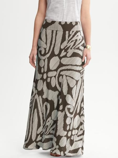 Banana Republic Brown Printed Silk Maxi Skirt