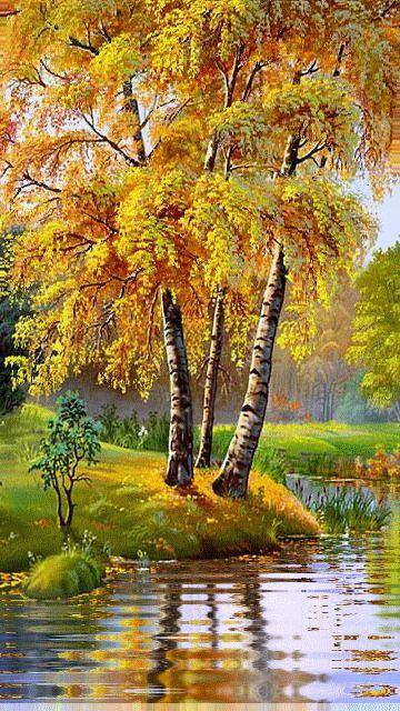 КАРТИНКИ. Красивая анимация. Осень....Я слышу дыхание осени Прохладное, приторно-свежее, Деревья с пурпурною проседью Ласками ветра изнежены…