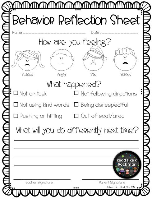 How Does Classroom Design And Organization Support Learning And Positive Behavior ~ Best ideas about behavior reflection sheet on