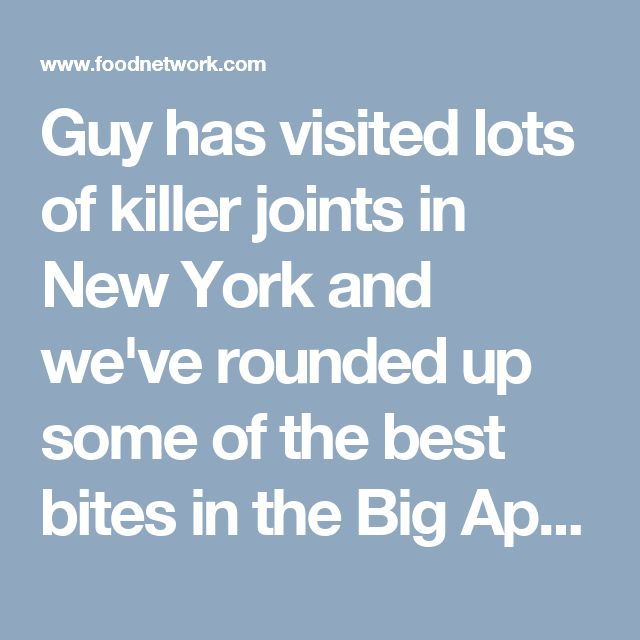 Guy has visited lots of killer joints in New York and we've rounded up some of the best bites in the Big Apple. You can't visit New York without having old school Italian at John's of 12th Street or traditional Jewish favorites at Ben's Deli -- and no one does classic New York sandwiches like Defonte's. But Guy's also discovered some surprises, like authentic barbecue at The Smoke Joint, German pretzels at The Redhead and a hubcap sized donut at Pies N Things.