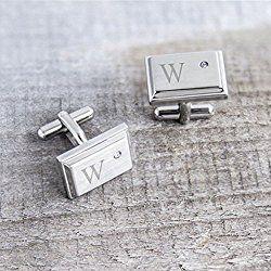 Personalized Zircon Jewel Stainless Steel Cuff Links