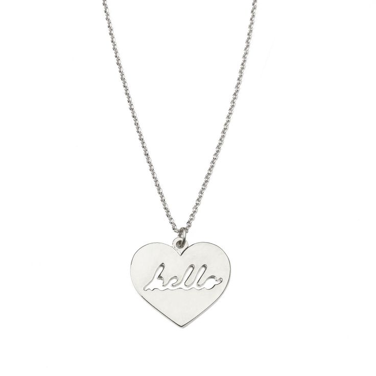 """Hello necklace - available in gold and silver. Get 25% off this necklace with code """"foxypin""""  http://www.foxyoriginals.com/Hello-Necklace-in-Silver.html Tags: silver necklace, heart jewelry, hello, follow your heart"""