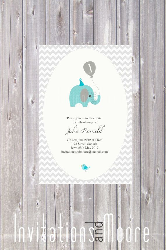 Boys Elephant Birthday or Christening Invitation