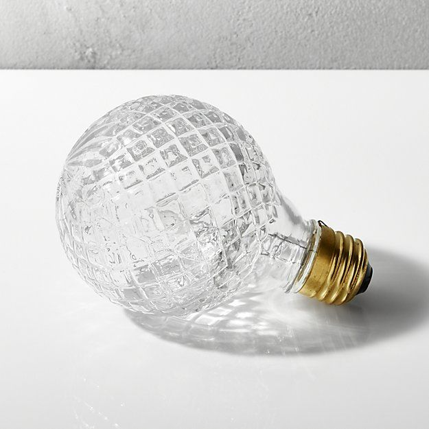 I like these bulbs if we do one of the exposed bulb vintage fixtures.  No glare issue.  cut glass halogen 40W light bulb | CB2