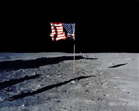 30Th Anniversary Of Apollo 11 Landing On The Moon(15 Of 20): The Flag Of The United States Stands Al... - Getty Images/Getty Images